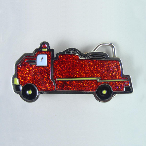 Small Fire Truck Belt Buckle Fits 1 1/4 Inch Wide Belt.