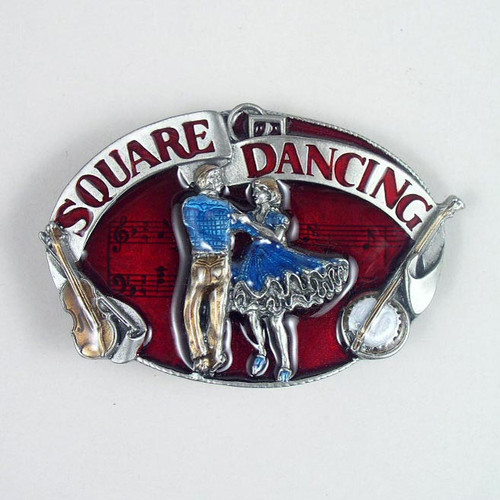 Square Dancing Belt BuckleFits 1 1/2 To 1 3/4 Inch Wide Belts.