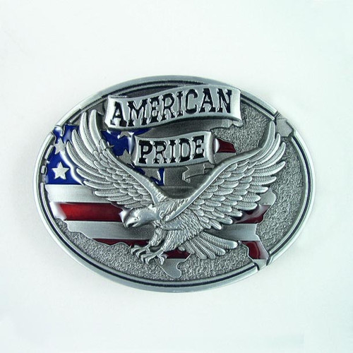 American Pride Belt Buckle Fits 1 1/2 Inch Wide Belt.