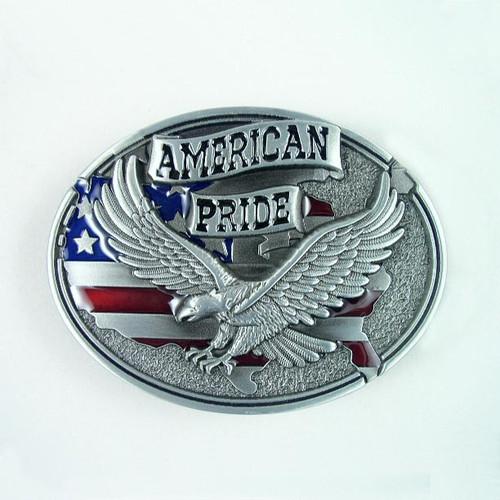 American Pride Belt Buckle Fits 1 1/2 Inch Wide Belt.