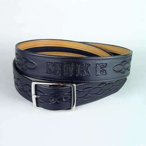 "Name And Design Leather Money Belt 1 3/4"" Wide"