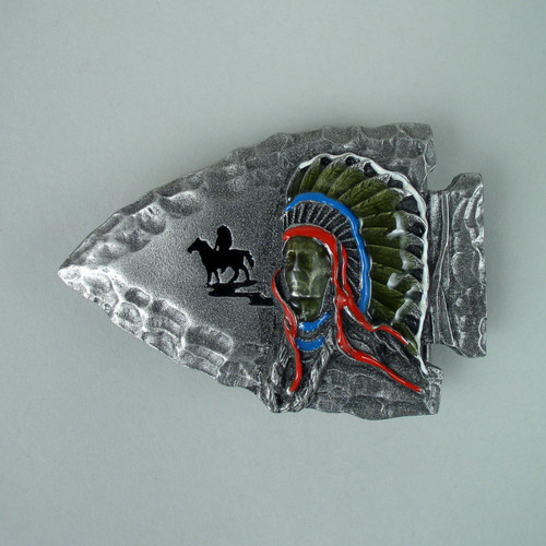 Native Arrowhead Belt Buckle Fits 1 1/2 To 1 3/4 Inch Wide Belts.