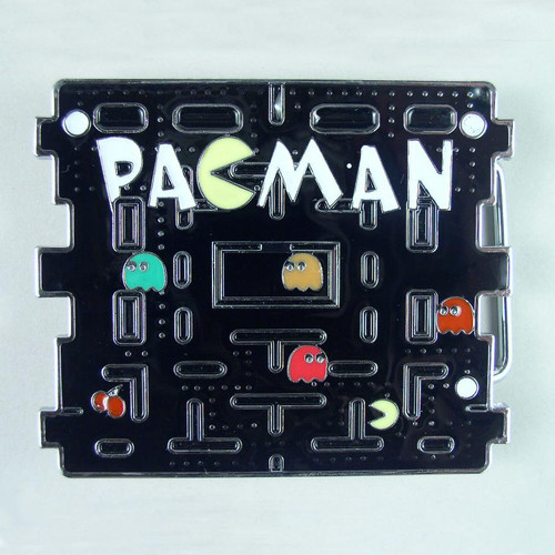 Pacman Belt Buckle Fits 1 1/2 Inch Wide Belt.