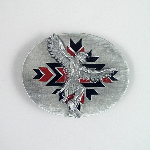 Native Dance Belt Buckle Fit 1 1/2 To 1 3/4 Inch Wide Belts.