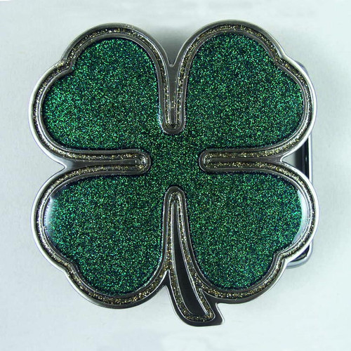 Four Leaf Clover Belt Buckle Fits 1 1/2 To 1 3/4 Inch Wide Belts.