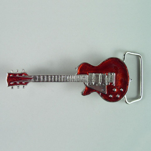 Guitar Red Belt Buckle Fits 1 1/2 To 1 3/4 Inch Wide Belts.