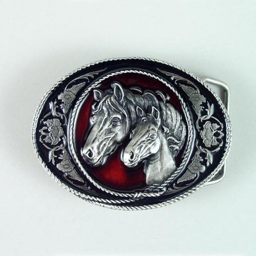 Horse Belt Buckle (B) Fits 1 1/2 To 1 3/4 Inch Wide Belts.