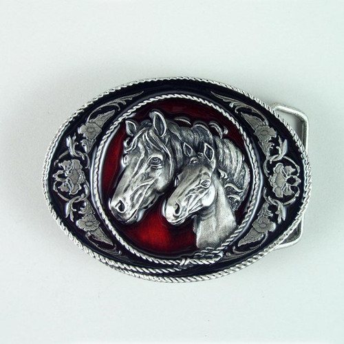 Horse Belt Buckle (B) Fits 1 1/2 To 1 3/4 Inch Wide Belts.