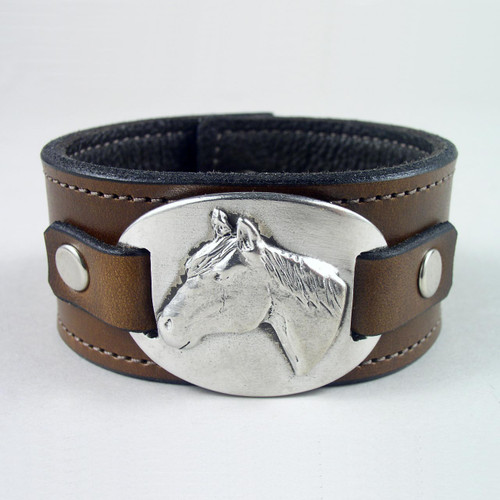 "Horse Pewter Leather Wristband 1 1/2"" wide"