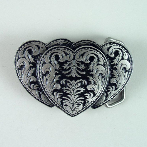 Hearts Belt Buckle Fits 1 1/2 Inch Wide Belt.