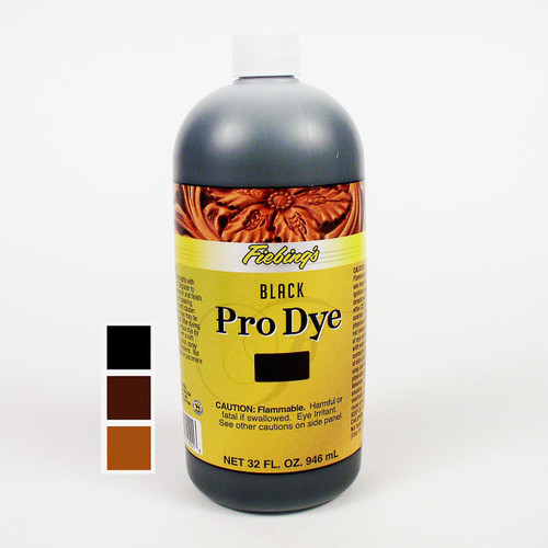 The Fiebing's Pro Dye is meant for undyed vegetable tanned tooling leather and not for redying products that have already been colored.  32 oz (946 mL)