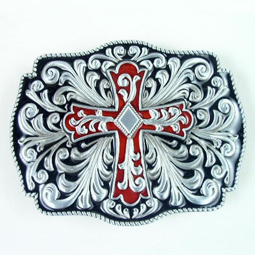 Cross Belt Buckle (B) Fits 1 1/2 Inch Wide Belt.