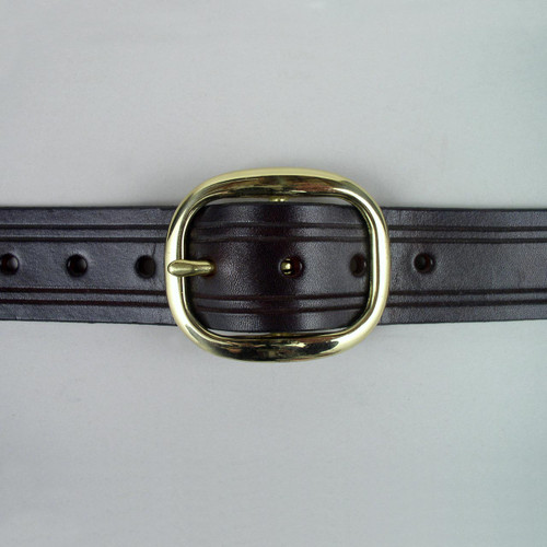 Genuine solid leather belt with decorative hand grooved border lines.