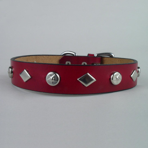 "Studded Leather Dog Collar 1 1/4"" wide"