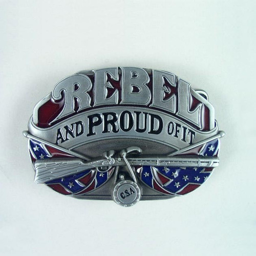 Rebel Belt Buckle Fits 1 1/2 Inch Wide Belt.