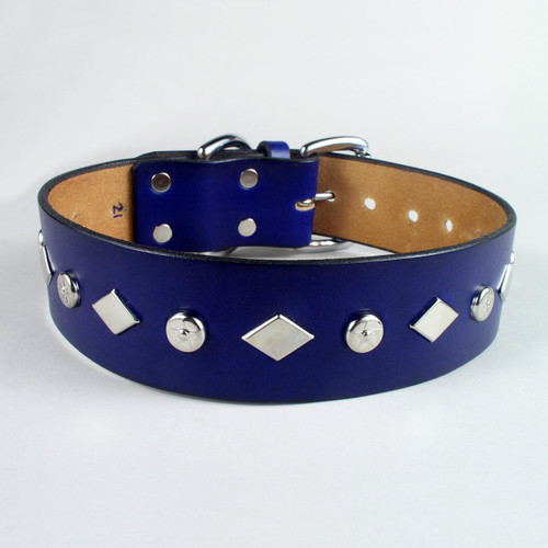 """Studded Leather Dog Collar 1 3/4"""" wide"""