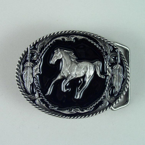 Horse Belt Buckle (C) Fits 1 1/2 Inch Wide Belt.