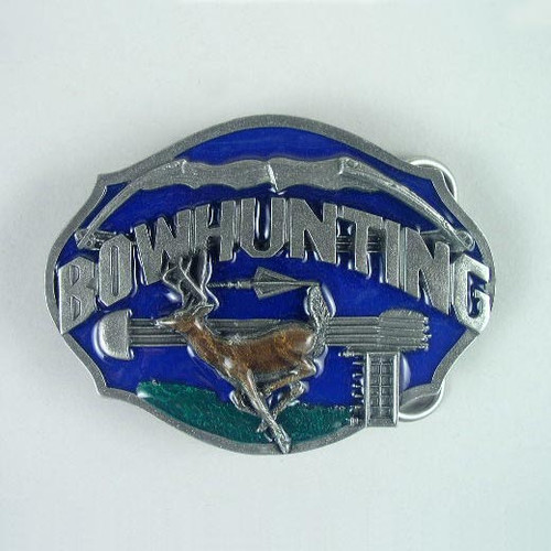 Bow Hunting Belt Buckle Fits 1 1/2 To 1 3/4 Inch Wide Belts.