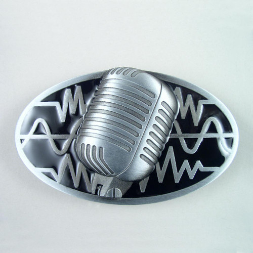 Microphone Belt Buckle Fits 1 1/2 Inch Wide Belt.