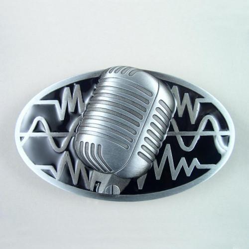 Microphone Belt Buckle Fits 1 1/2 Inch Wide Belt.