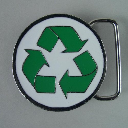 Small Recycle Belt Buckle Fits 1 1/4 Inch Wide Belt.