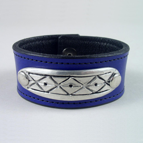 """Diamond Pewter Leather Wristband 1 1/4"""" wide"""