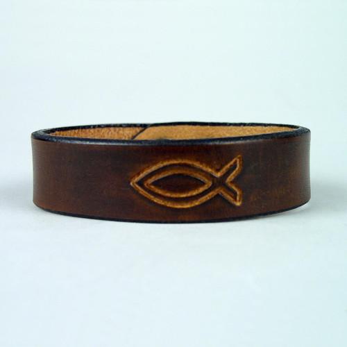 """Leather Christian Design Bracelets 3/4"""" wide"""