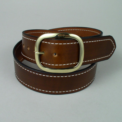 "Stitched Leather Belt 1 1/4"" Wide"