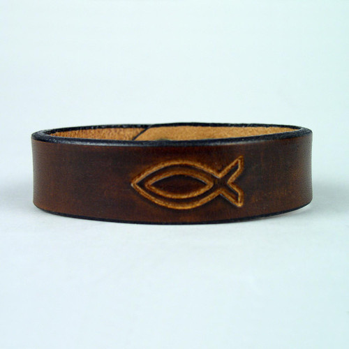 "Leather Christian Design Bracelets 1"" wide"