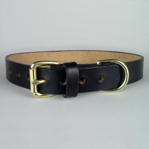 "Plain Leather Dog Collar 1 1/4"" wide"