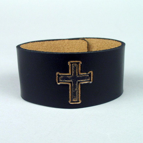 "Leather Christian Design Bracelets 1 1/4"" wide"