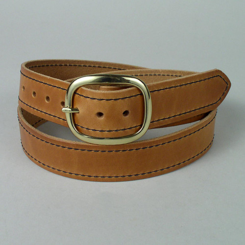 "Stitched Leather Belt 1 3/4"" Wide"