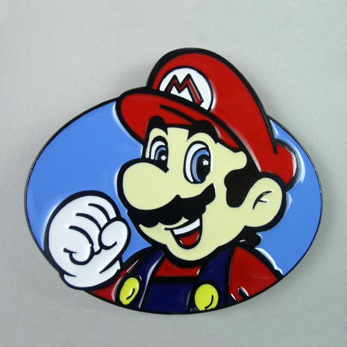 Super Mario Bros Belt Buckle Fits 1 1/2 Inch Wide Belt.