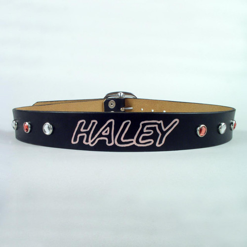 "Personalized Jeweled Leather Belt 1 1/2"" Wide"