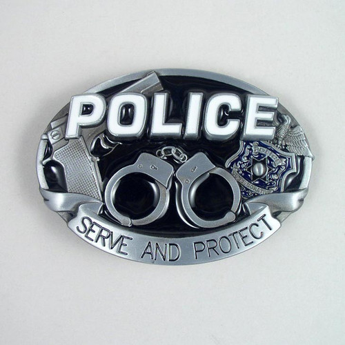 Police Belt Buckle (A) Fits 1 1/2 Inch Wide Belt.