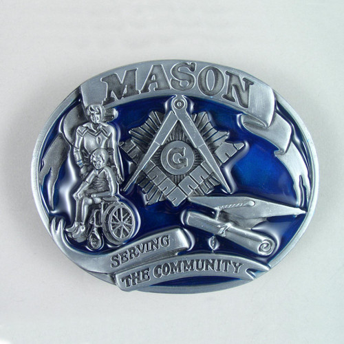 Mason Masonic Belt Buckle (D) Fits 1 1/2 Inch Wide Belt.