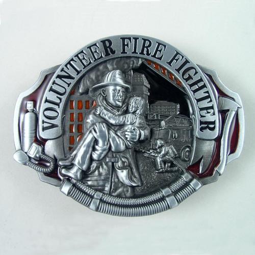Volunteer Fire Fighter (B) Belt Buckle Fits 1 1/2 Inch Wide Belt.