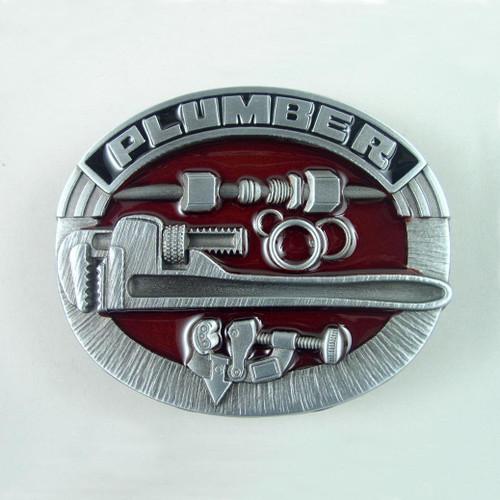 Plumber Belt Buckle (B) Fits 1 1/2 Inch Wide Belt.
