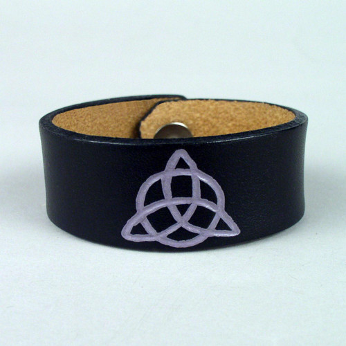 """Christian Triquetra Etched Wristband 1 1/4"""" wide"""