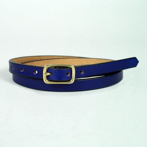 Blue full grain leather belt with solid brass buckle.