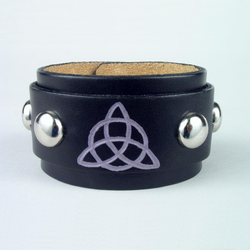 "Studded Triquetra Leather Bracelet 1 1/2"" wide"