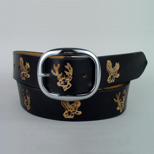 Imprinted wildlife on solid leather belt with silver buckle.