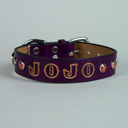 "Personalized Jeweled Leather Dog Collar 1"" wide"
