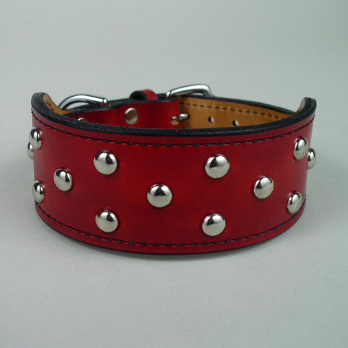 "Studded Wide Rugged Dog Collar (3"" taper to 1 3/4"")"