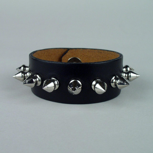 "Spiked Leather Wristband 1 1/4"" wide"