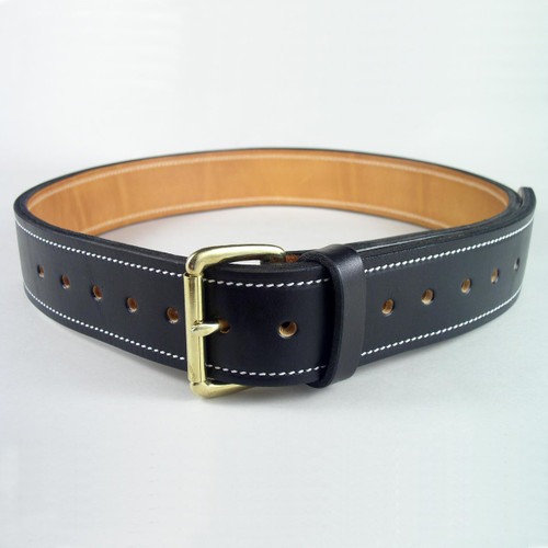Heavy duty black leather industrial belt with sturdy white harness stitching.