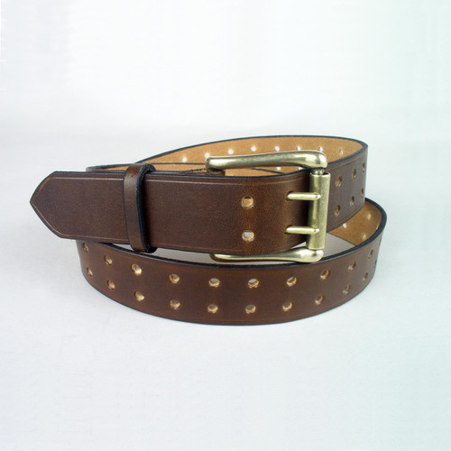 Brown full grain leather belt with double holes running the length of the belt.  A sturdy solid brass buckle fastens the belt.