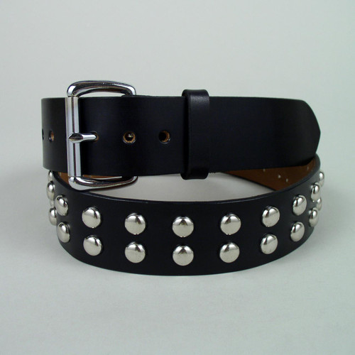 Double Row Studded Leather Belt 1 1/2  Wide