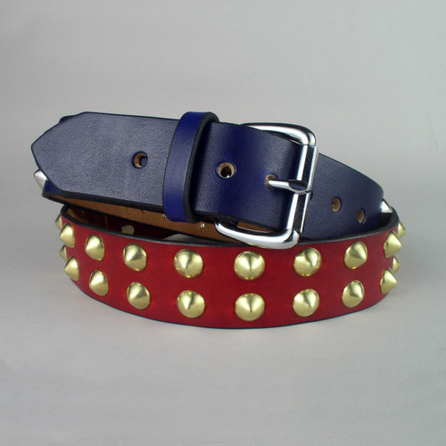 Double Row Studded Leather Belt 1 3/4 Wide