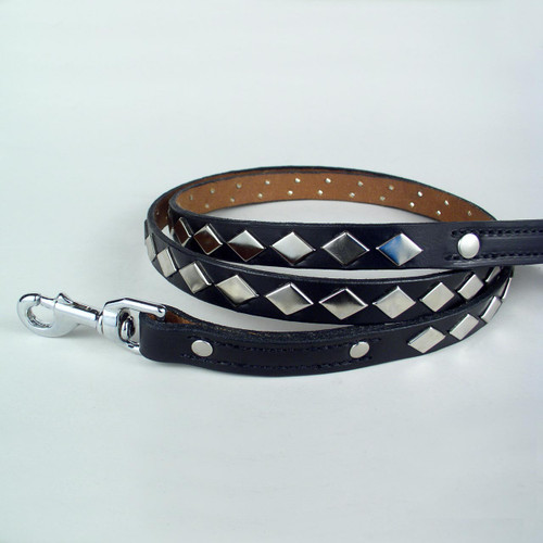Six foot studded dog leash in black leather.